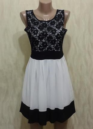 Красивое черно белое платье с ажурным верхом, р.8