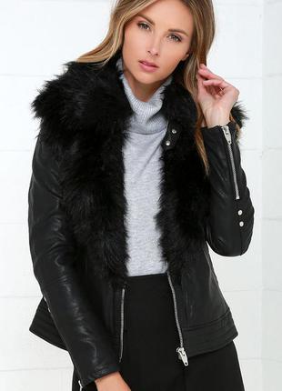 🎁1+1=3 модная кожаная черная куртка косуха с мехом dorothy per...