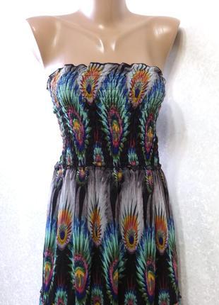 Платье бюстье длинное в пол в красивый принт stella р.16