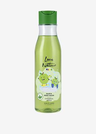 Детский шампунь для волос и тела с яблоком love nature