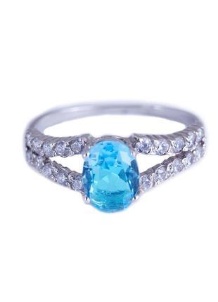 Кольцо из серебра с покрытием из родия «франция» с фианитом цв...