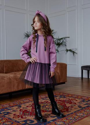 Сиреневое платье - свитшот с фатином для девочки, цвет - лилов...
