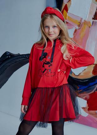 Красное платье - свитшот с фатином для девочки, принт микки mi...