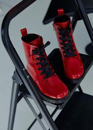 Ботинки детские лаковые классические красные стильные модные, ...