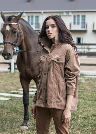 Стильная 💥 вельветовая коричневая женская куртка оверсайз
