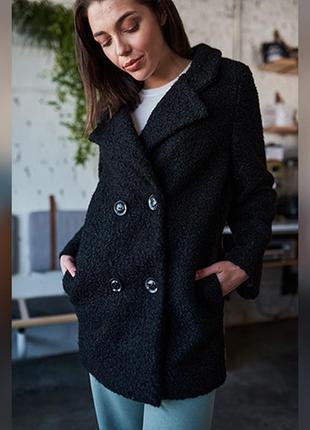 Трендовое черное пальто из каракуля, стильное короткое женское...
