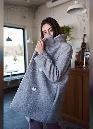 Стильное серое пальто из каракуля, короткое женское пальто
