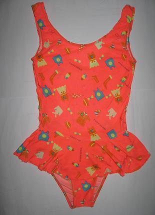 Яркий детский цельный купальник  с юбочкой в принт на 11-12лет...