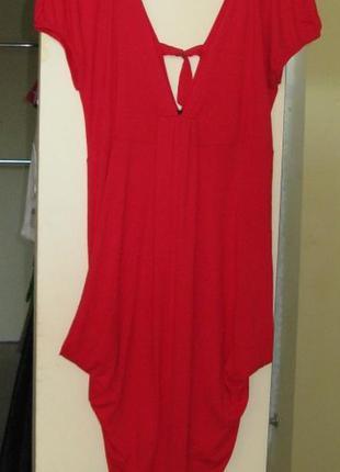 14 л 42 pogoda шикарное красное платье 92% вискоза