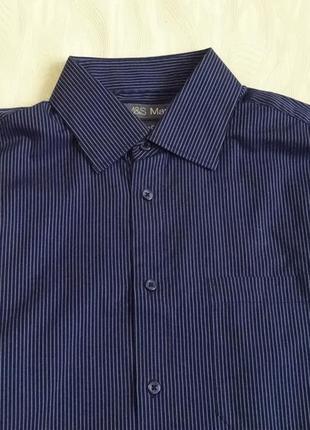 Коттоновая рубашка черная в синюю полоску marks&spencer , р.48-50
