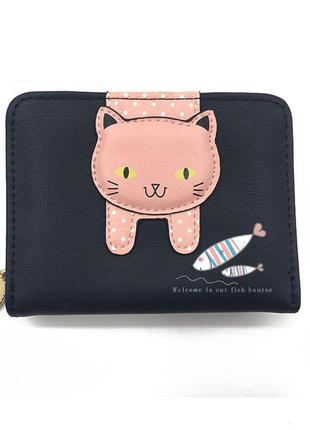 Dedomonо новый модный черный короткий компактный кошелек с кот...