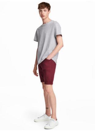 Шорты бриджи бордовые джинсовые красные h&m 36 l