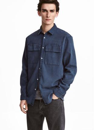 Джинсовая рубашка синяя h&m l utility