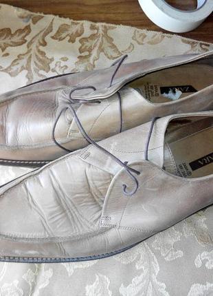 Туфли мужские бежевые zara 45 300мм натурльная кожа