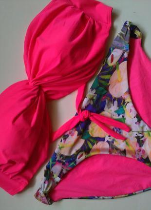 14-16 новый яркий розовый цветочный купальник бандо на чашку е...