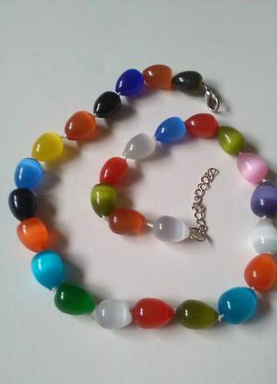 Крупные ожерелье бусы кошачий глаз разноцветные, натуральный к...