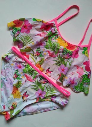 Модный подростковый купальник с воланами фламинго тропики на 1...