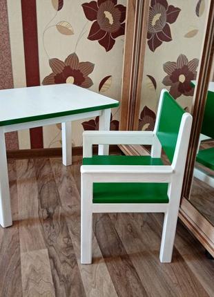 Стол и стул детский, масив дерева