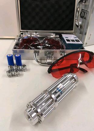 Лазерная указка с насадками Blue Laser B-017 в кейсе лазер 5000mW