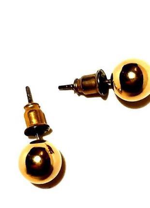 Серьги гвоздики пусеты зеркальные шарики под золото в стиле диор