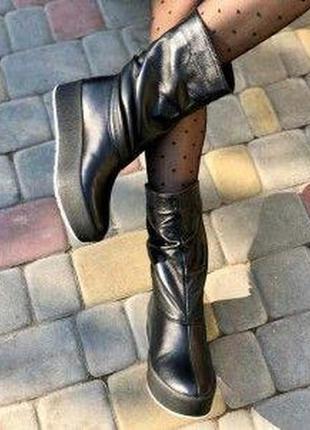 🌿  зимові шкіряні чобітки з натуральної шкіри на платформі