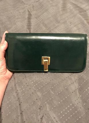 Кожаный клатч зеленого цвета fabs