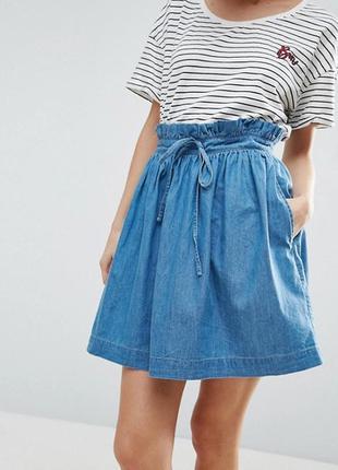 Стильная джинсовая юбка высокая талия с карманами 100% лиоцелл...