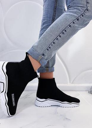 Чёрные высокие текстильные кроссовки, чёрные кроссовки носки