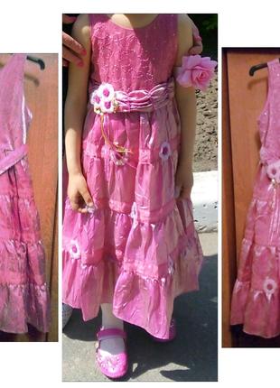 Комплект: выпускное нарядное платье из шелка и органзы + туфли