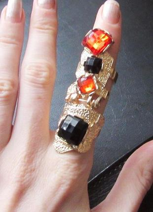 🏵нарядное кольцо на 2 фаланги с кристаллами, новое! арт. 481