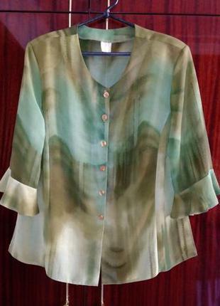 Блузка из натурального шелка с нитями люрекса размер 54.