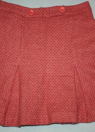 Твидовая шерстяная фирменная юбка tara jarmon - французский бр...