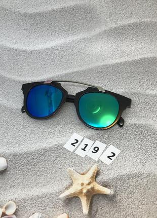 Стильные солнцезащитные очки, цвет линз сине-зеленый к. 2192