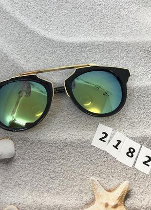 Стильные солнцезащитные очки, цвет линз сине-зеленый к. 2182