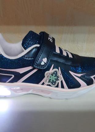 Светящиеся кроссовки 27-32 р bi&ki на девочку, синие с розовым