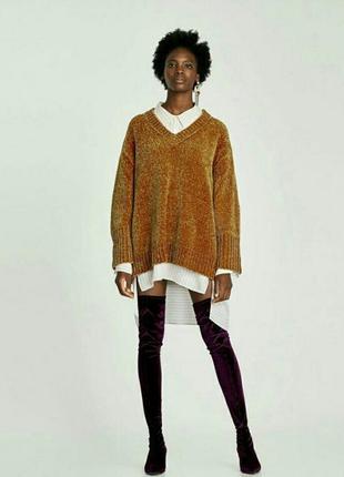 Бархатный велюровый свитер плюшевый синель свитер свободного к...