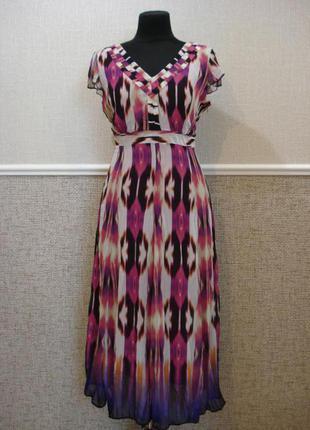 Летнее нарядное шифоновое платье на подкладке большого размера...