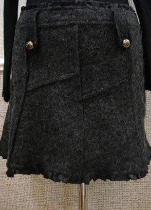 Шерстяная юбка трапеция зимняя юбка