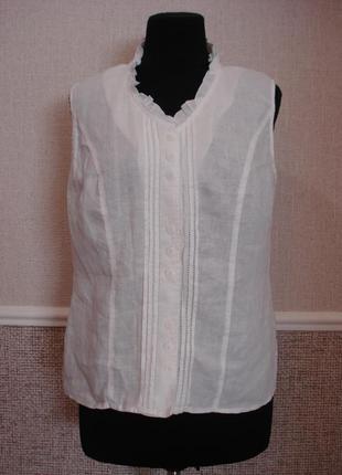 Летняя кофточка одежда из льна блузка без рукавов бренд erfo
