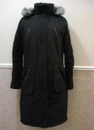 Парка молодежная длинная куртка с меховым воротником  пальто с...