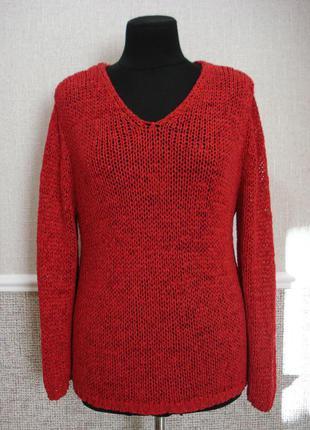 Красная вязаная кофта кофта с длинным рукавом кофта крупной вя...