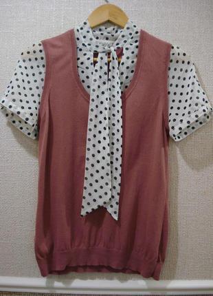 Нарядная блузка с коротким рукавом блузка с бантом жилетка и б...