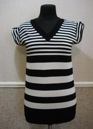 Трикотажная блузка блузка с коротким рукавом бело - черная блу...