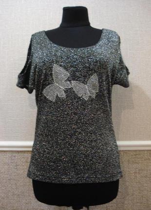 Нарядная блузка с люрексом летняя блузка блузка с коротким рук...