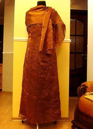 Платье в пол летнее вечернее с палантином