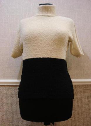 Вязанная трикотажная кофта свитер с воротником