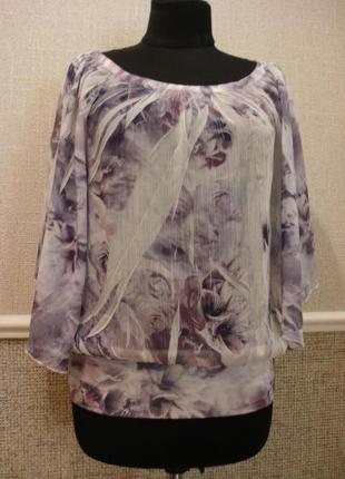 Летняя кофточка шифоновая блузка с рукавом 3\4 и цветочным при...