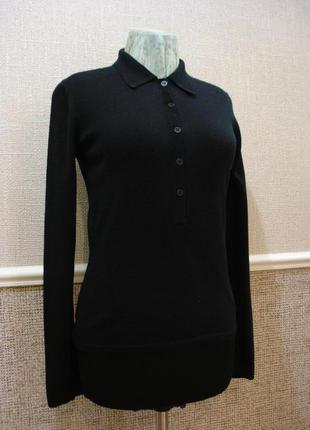 Стильный шерстяной джемпер черный джемпер кофта с длинным рука...