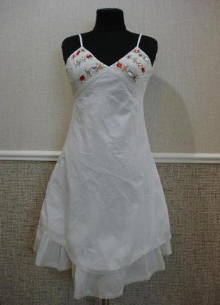 Повседневное платье из хлопка платье с открытыми плечами