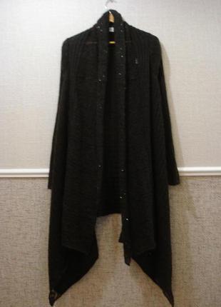Длинный пушистый вязаный кардиган кофта с длинным рукавом
